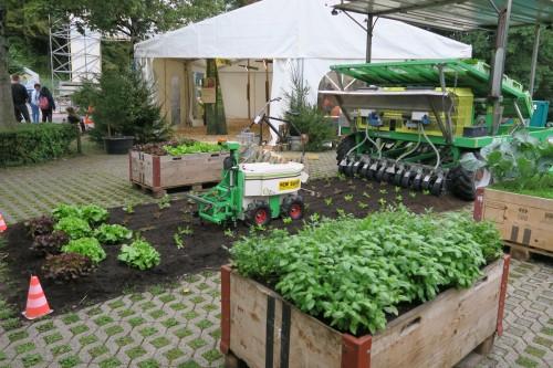 Gemüsebeete und Pflanzmaschinen im Aussenbereich